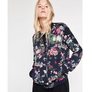 NWOT Zara Asian-Inspired-Floral Bomber Jacket